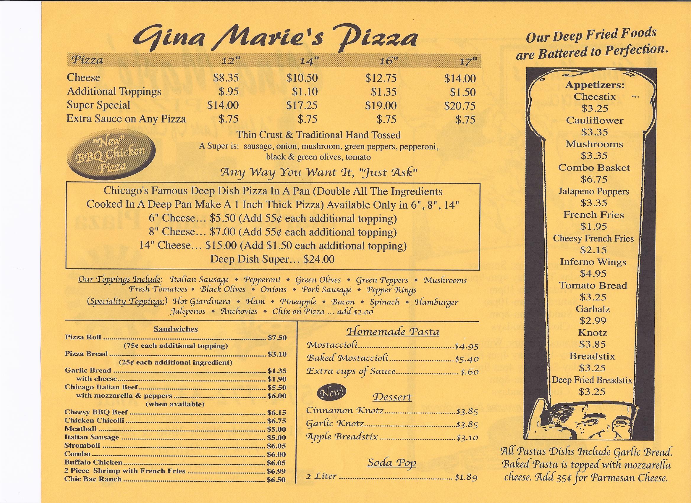 Gina marie 39 s pizza for Pizzeria gina st priest menu