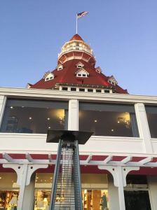 View of the top of Hotel Del Coronodo from Eno's outside seating area