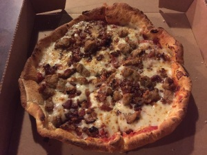 Sausage and Bacon Pizza on Pan Crust