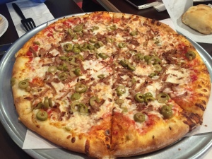 Graziano's Pizza in Dunbar, WV_Sausage and Green Olive Pizza